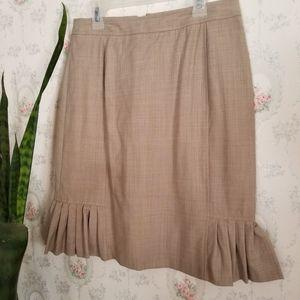 Petite Sophisticate Vintage 70s Dress Skirt Tan 4P